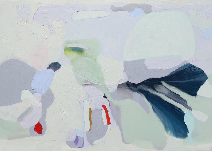 Abstract Greeting Card featuring the painting Breathe by Claire Desjardins