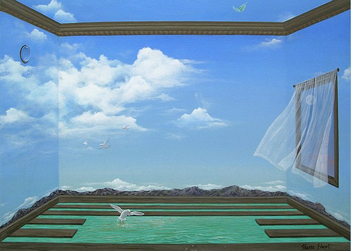 Surreal Painting Greeting Card featuring the painting Breathing Room by Sharon Ebert