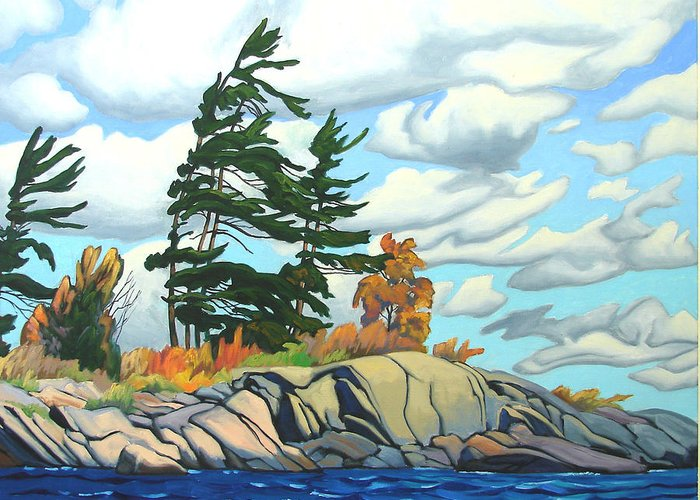 Landscape Greeting Card featuring the painting Breezy Day Georgian Bay by Paul Gauthier