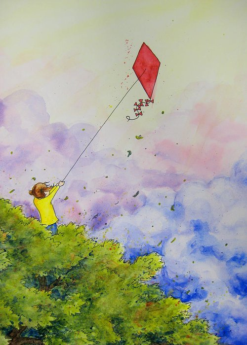 Kite Greeting Card featuring the painting Breezy Day Happy Day by Jaymi Krystowiak