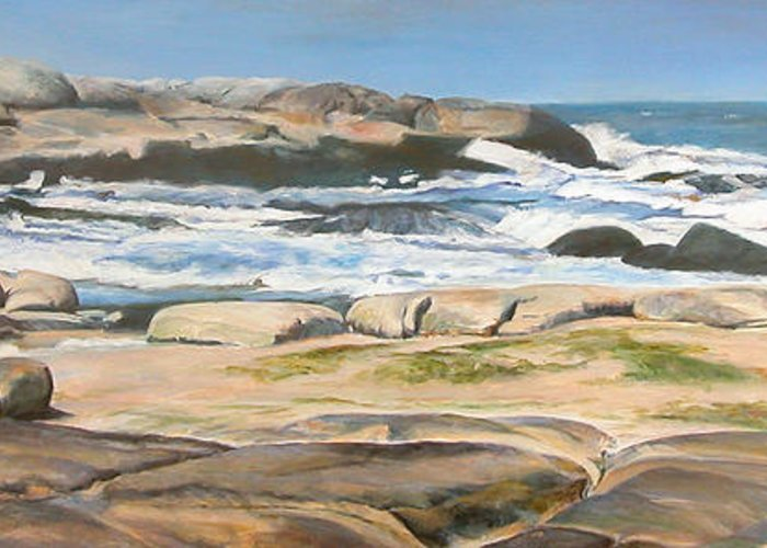 Paysage Greeting Card featuring the painting Bretagne 2 by Muriel Dolemieux