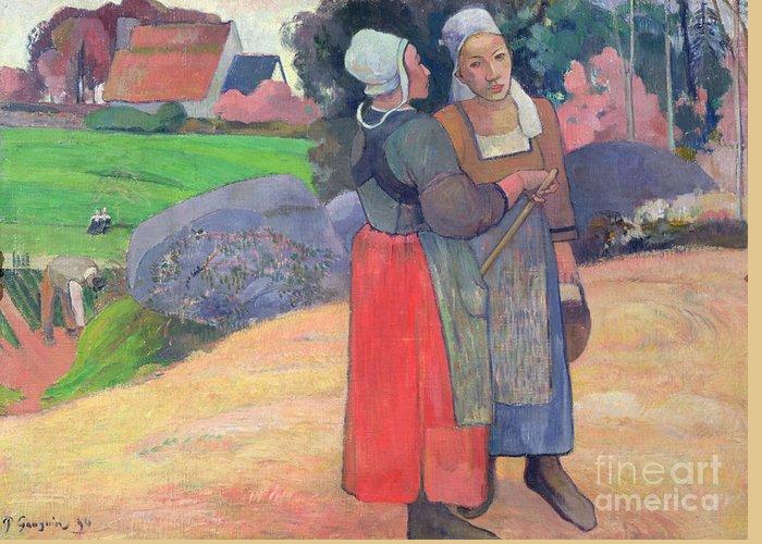 Breton Peasants Greeting Card featuring the painting Breton Peasants by Paul Gauguin