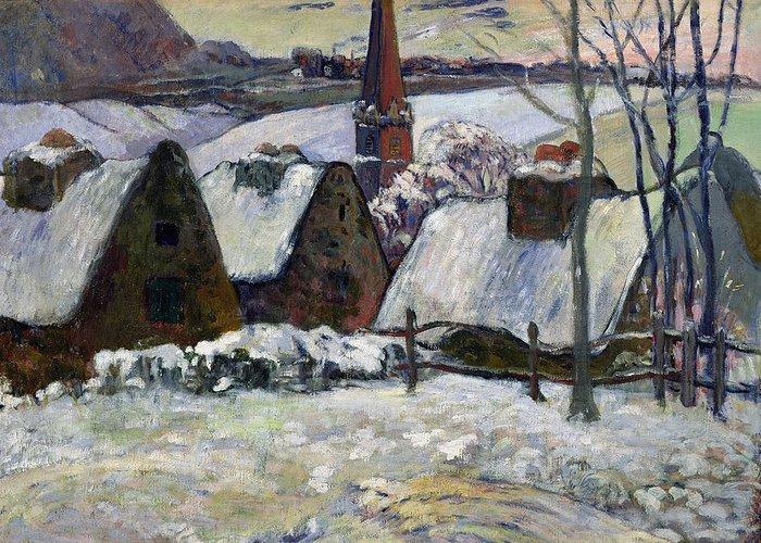 Breton Village Under Snow Greeting Card featuring the painting Breton Village Under Snow by Paul Gauguin