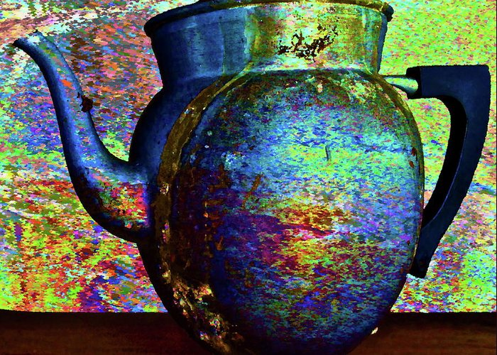 Coffee Pot Greeting Card featuring the photograph Brewing Nostalgia by Gwyn Newcombe