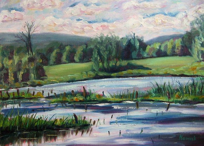 Pond Greeting Card featuring the painting Brick Pond Afternoon by Richard Nowak