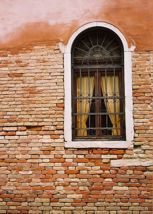 Window Greeting Card featuring the photograph Brick Window by Kathy Schumann