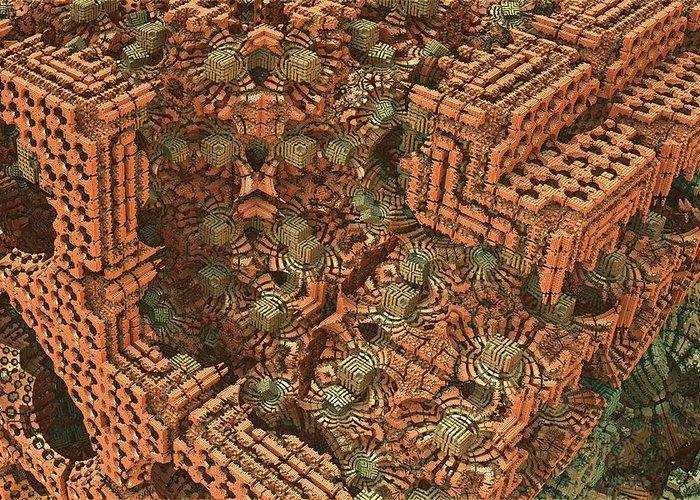 Mandelbulb Greeting Card featuring the digital art Bricks And Mortar by Lyle Hatch