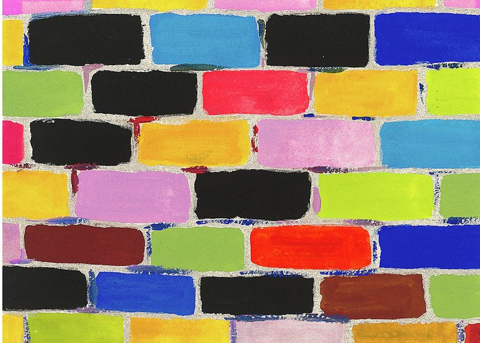Contemporary Greeting Card featuring the painting Bricks Of Life by Bjorn Sjogren