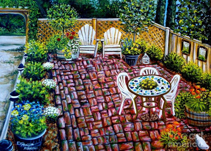 Landscape Greeting Card featuring the painting Brickwork by Elizabeth Robinette Tyndall