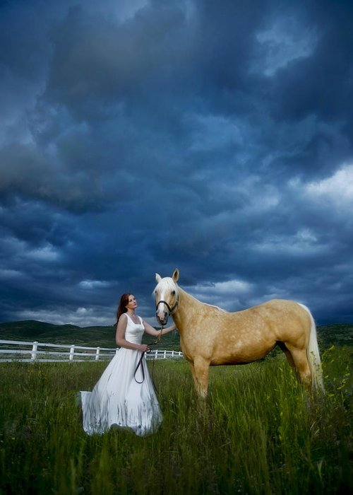 Beautiful Greeting Card featuring the photograph Bride And Horse With Storm by Nick Sokoloff