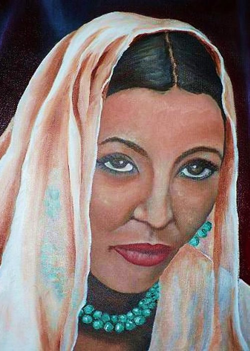 Portrait Of Bride Greeting Card featuring the painting Brideprice by Alima Newton