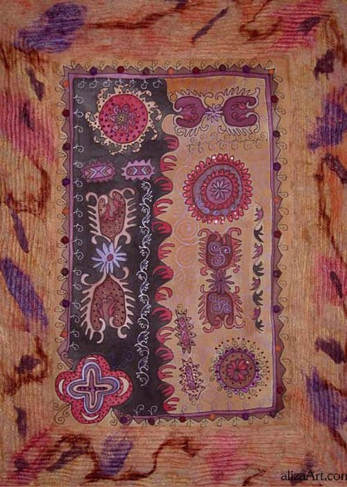 Asian Motives Greeting Card featuring the tapestry - textile Bride's Shawl by Aliza Souleyeva-Alexander