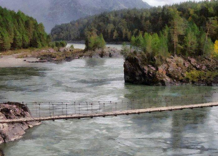 Bridge Greeting Card featuring the photograph Bridge Across Mountain River by Sergey Lukashin