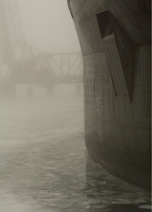 Water Greeting Card featuring the photograph Bridge And Barge by Tim Nyberg