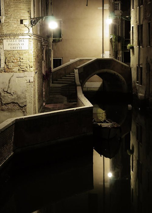 Venice Greeting Card featuring the photograph Bridge and Canal in Venice at Night by Michael Henderson