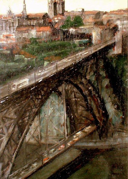 Porto Greeting Card featuring the painting Bridge Luis I-Oporto by Tomas Castano