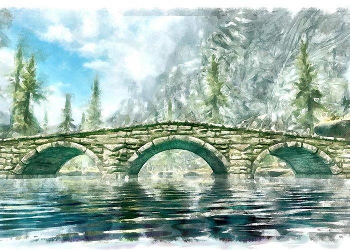 Bridge Greeting Card featuring the digital art Bridge by Marjan Mencin