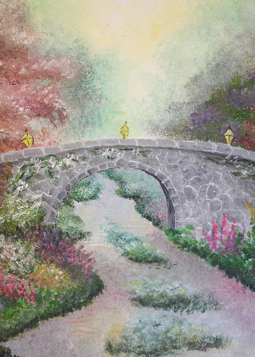 Bridge Greeting Card featuring the painting Bridge by Melissa Wiater Chaney