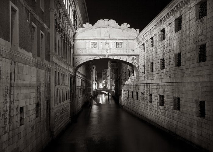 Venice Greeting Card featuring the photograph Bridge Of Sighs In The Night by Marco Missiaja
