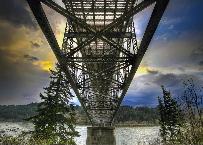 Bridge Of The Gods Greeting Card featuring the photograph Bridge Of The Gods by David Gn