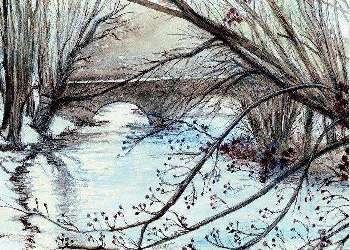 Bridge Over Cocalico Creek Denver Pensylvania Greeting Card featuring the painting Bridge Over Cocalico Creek by Morgan Fitzsimons