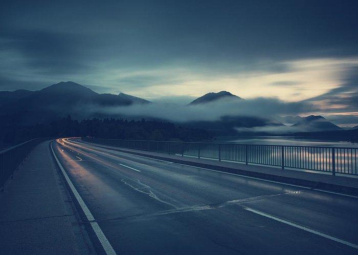 Bavaria Greeting Card featuring the photograph Bridge Over Lake Sylvenstein by Franz Sussbauer