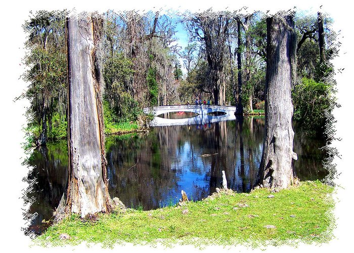 Bridge Greeting Card featuring the photograph Bridge Over Pond by Ralph Perdomo