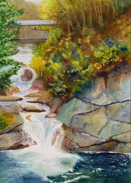 New England Greeting Card featuring the painting Bridge Over Traveled Water by Karen Fleschler