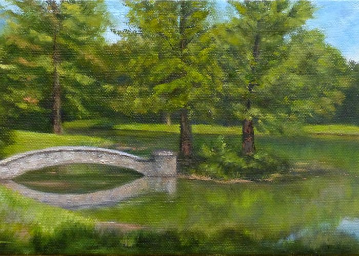 Landscape Greeting Card featuring the painting Bridge Reflections by Dawn Tyler