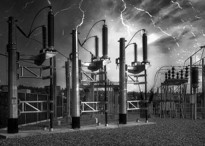 Power Greeting Card featuring the photograph Bridge St Power Substation 2 - Spokane Washington by Daniel Hagerman