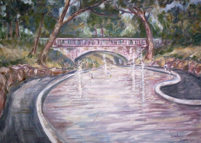 Landscape Greeting Card featuring the painting Bridge Wading Pool by Joseph Sandora Jr