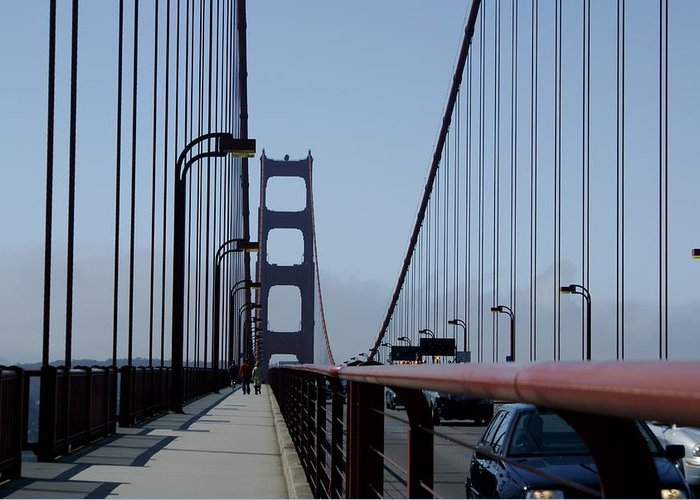 San Francisco Greeting Card featuring the photograph Bridge Walk by Sonja Anderson