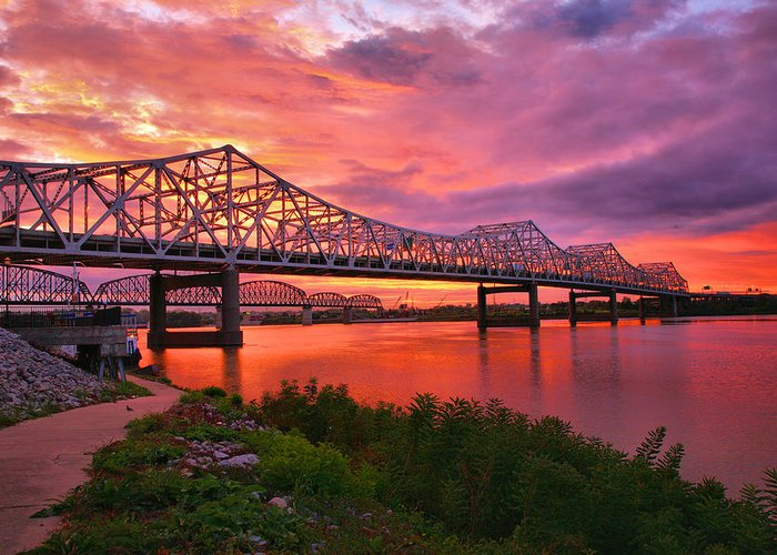 Bridge Greeting Card featuring the photograph Bridges At Sunrise II by Steven Ainsworth