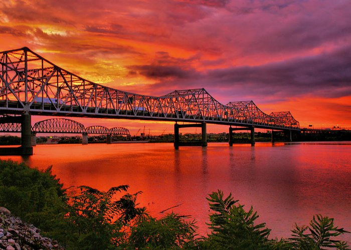 River Greeting Card featuring the photograph Bridges At Sunrise by Steven Ainsworth