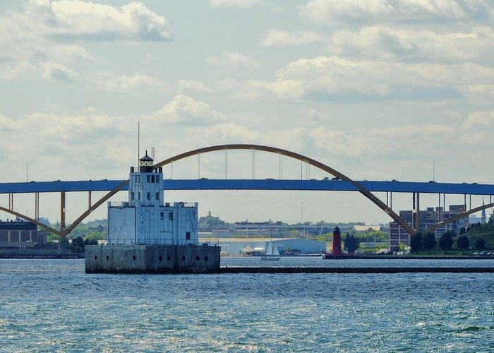 Harbor Greeting Card featuring the photograph Bridging The Milwaukee Harbor by Red Cross