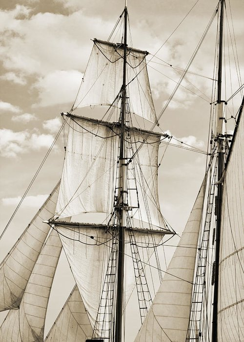 Brigantine Greeting Card featuring the photograph Brigantine Tallship Fritha Sails And Rigging by Dustin K Ryan