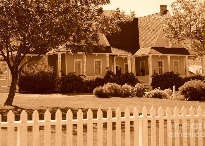 Sepia Greeting Card featuring the photograph Brigham Young Home by Dennis Hammer