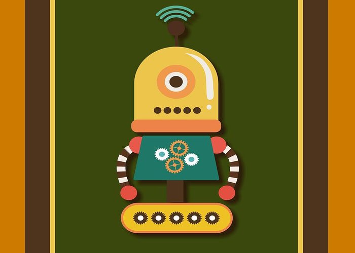 Retro Greeting Card featuring the digital art Bright And Colorful Robot Toy by Alondra Hanley