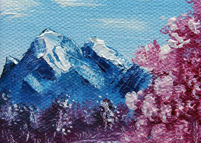 Wonderous Greeting Card featuring the painting Bright Blue Mountains by Jera Sky