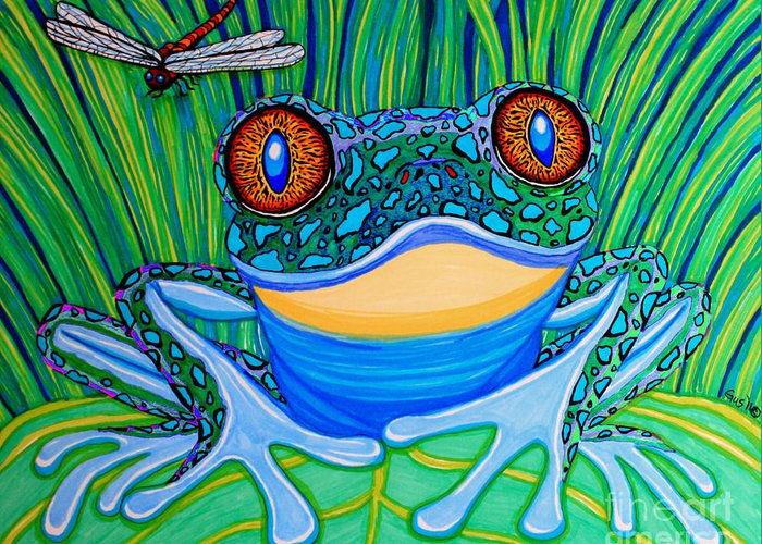 Frog Greeting Card featuring the drawing Bright Eyes 2 by Nick Gustafson