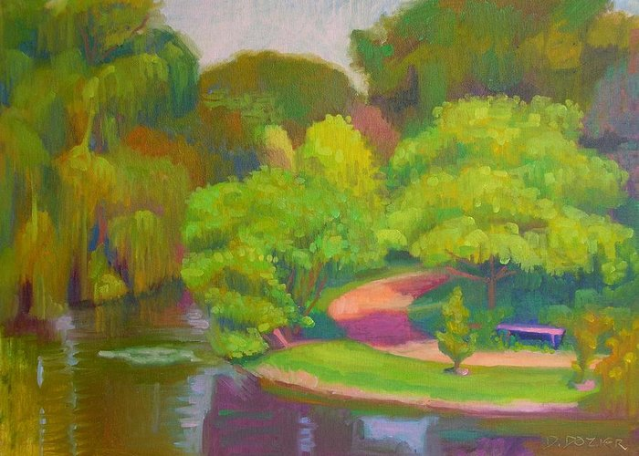 Landscape Greeting Card featuring the painting Bright Hazy Day Chicago Botanical Gardens by David Dozier
