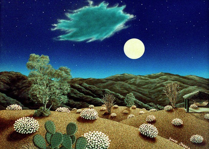 Acrylic Greeting Card featuring the painting Bright Night by Snake Jagger