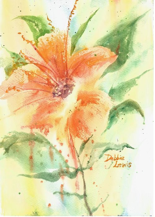 Orange Flower With Yellow Background Greeting Card featuring the painting Bright Orange Flower by Debbie Lewis