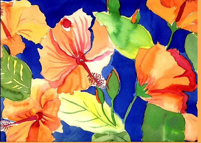 Bright Orange Flowers Floral Greeting Card featuring the painting Bright Orange Flowers by Janet Doggett