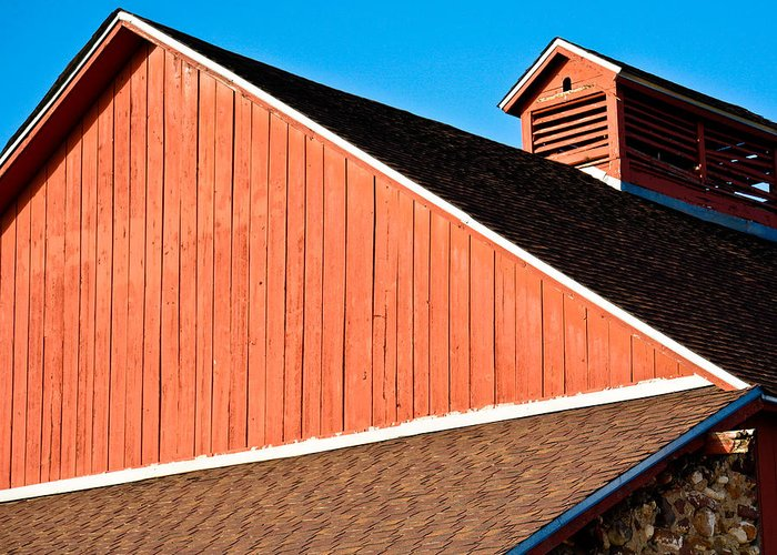 Americana Greeting Card featuring the photograph Bright Red Barn by Marilyn Hunt