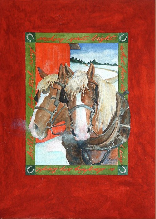 Horses Greeting Card featuring the painting Bright Spirits by Christie Michelsen