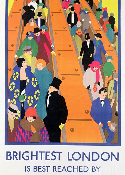 Advertisement; Poster; Tube; Crowd Greeting Card featuring the painting Brightest London Is Best Reached By Underground by Horace Taylor