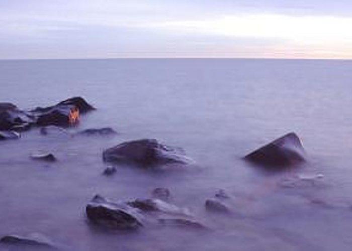 Brighton Beach Sunrise On Lake Superior Near Duluth Greeting Card featuring the photograph Brighton Beach Sunrise by Bill Morgenstern