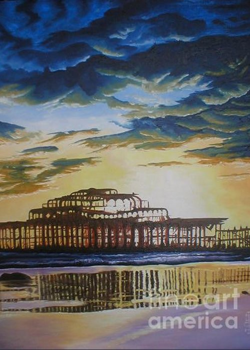 Brighton West Pier Derelict Victorian Sad Beach Sand Sunset Greeting Card featuring the painting Brighton West Pier by Pauline Sharp