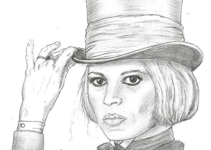 Brigitte Bardot Greeting Card featuring the drawing Brigitte Bardot by Steven White